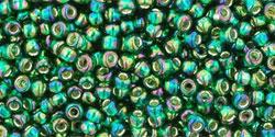 TR11 #2036 радужный зеленый изумруд серебряная внутренняя линия (Артикул снят с производства!)