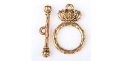 Тоггл Корона, кольцо 15*25мм палочка 25мм цвет серебро 1шт.